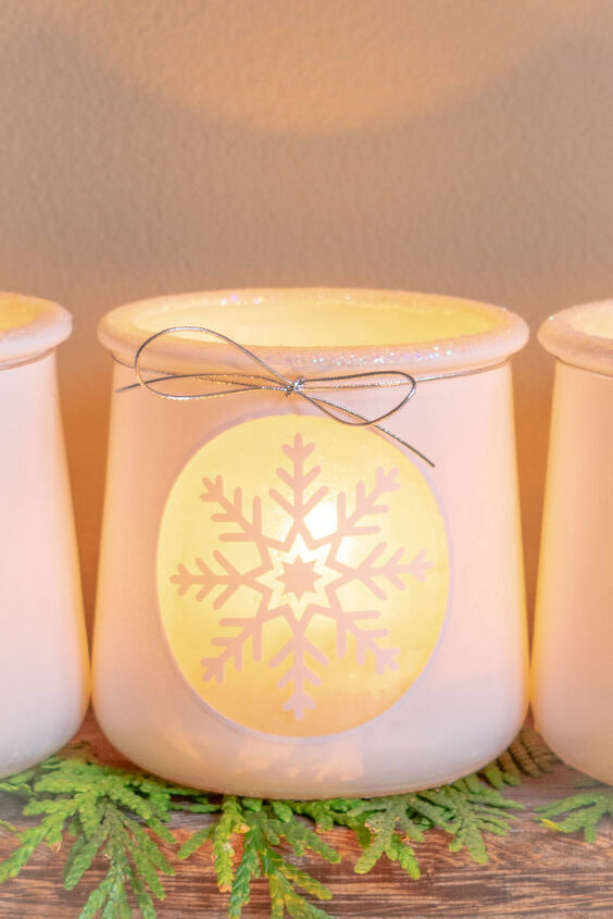 winter snowflake craft diy votive holders from up cycled oui jars