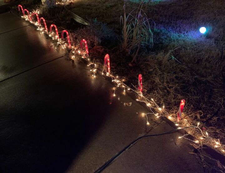 replacing worn out christmas yard lights with icicle lights
