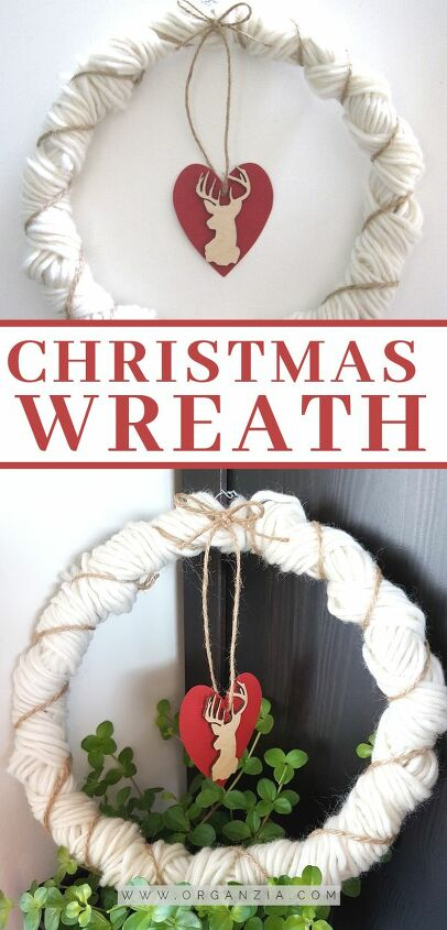 make a beautiful diy christmas yarn wreath