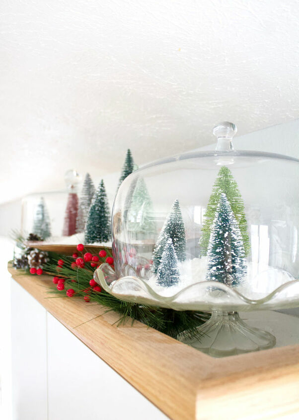 christmas terrarium with bottle brush christmas trees