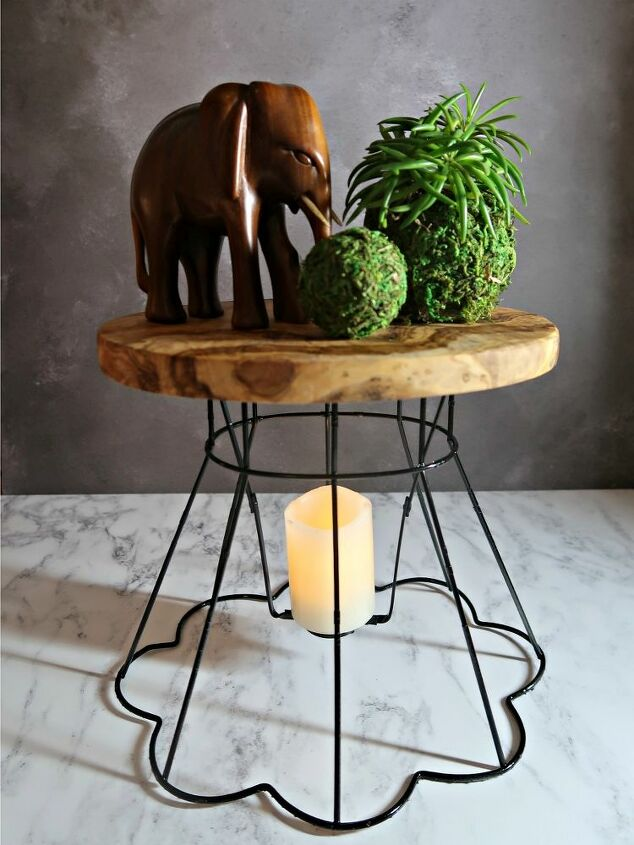 how to upcycle wire lampshade frames into plant stands