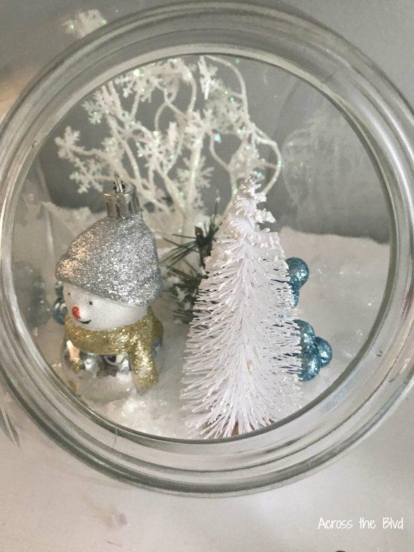 snowy christmas in a jar