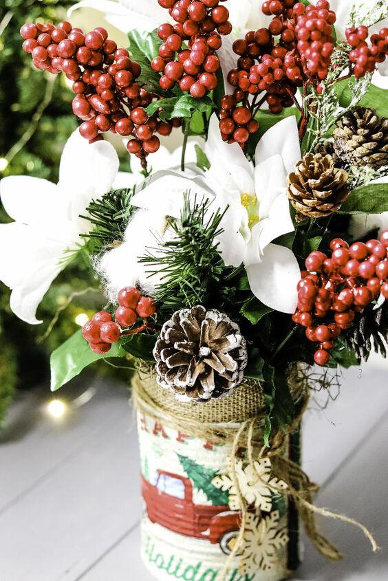 rustic farmhouse tin can christmas craft