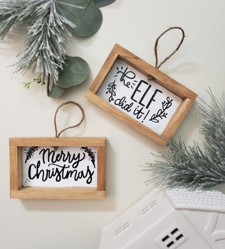 s 25 unconventional christmas ornament ideas for 2019, Christmas ornament signs