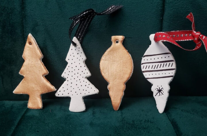 s 25 unconventional christmas ornament ideas for 2019, Air dry clay Christmas ornaments