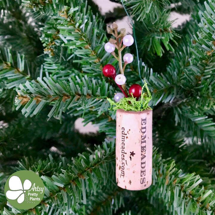 s 25 unconventional christmas ornament ideas for 2019, Wine Cork Planter Ornament