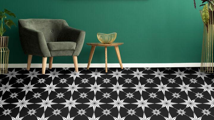 faux designer tile with geometric tile stencils
