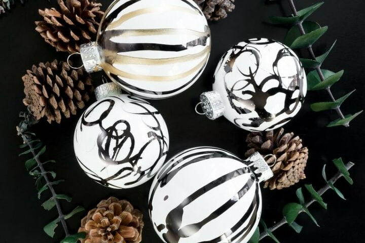 s 6 stunning ways you can transform plain christmas ball ornaments, Abstract Alcohol Ink Ornaments