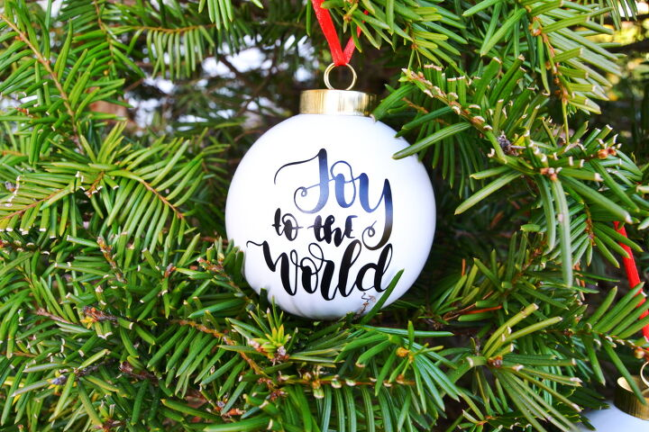 s 6 stunning ways you can transform plain christmas ball ornaments, Custom Cricut Christmas Ornaments