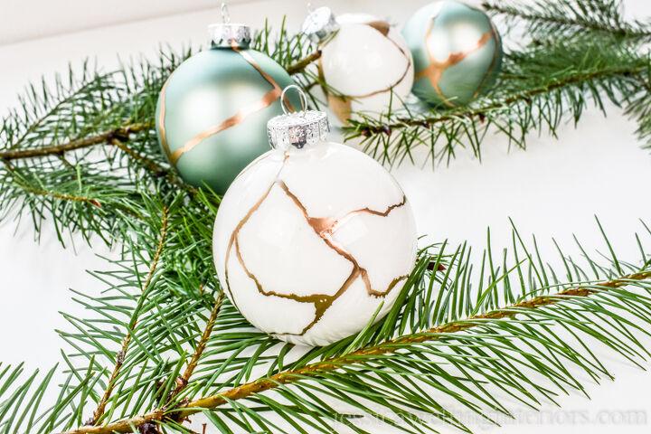 s 6 stunning ways you can transform plain christmas ball ornaments, Easy Kintsugi Christmas Ornaments