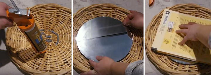 thrift store basket becomes hanging wall mirror
