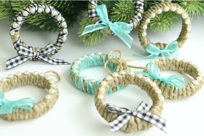 christmas ornaments made with shower curtain rings