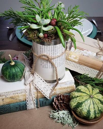 holiday book succulent table