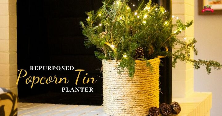 repurposed popcorn tin planter