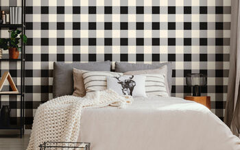 Making A Cozy Farmhouse Bedroom Wall With The Buffalo Check Stencil