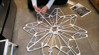 q how to make snowflakes out of plastic hanger