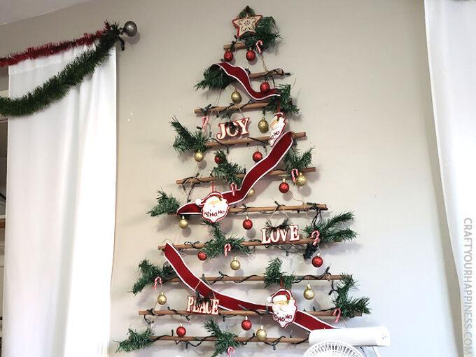 easy diy hanging wall christmas tree