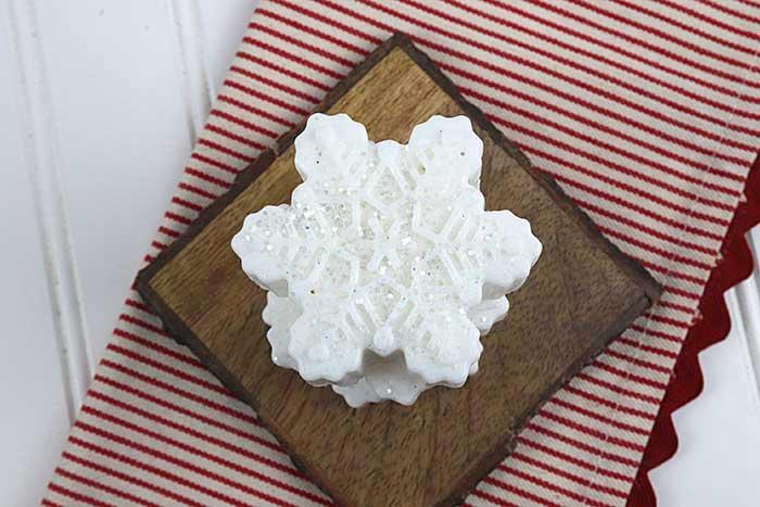 glitter snowflake soap