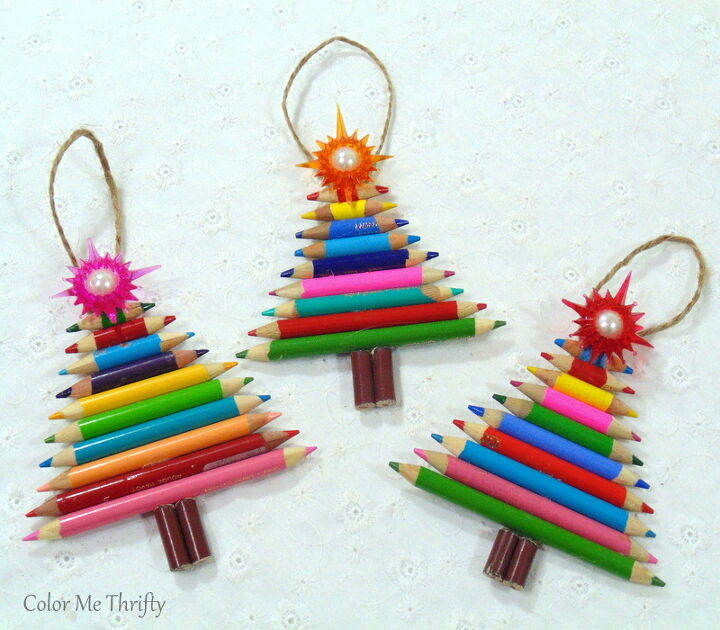 diy tree ornaments from pencil crayons
