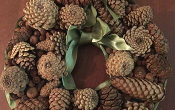 DIY Pine Cone Wreath Using Upcycled Foam Packaging