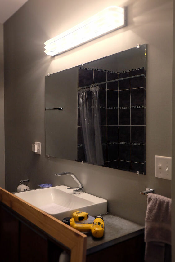 how to diy frame a wall mounted bathroom mirror with clips