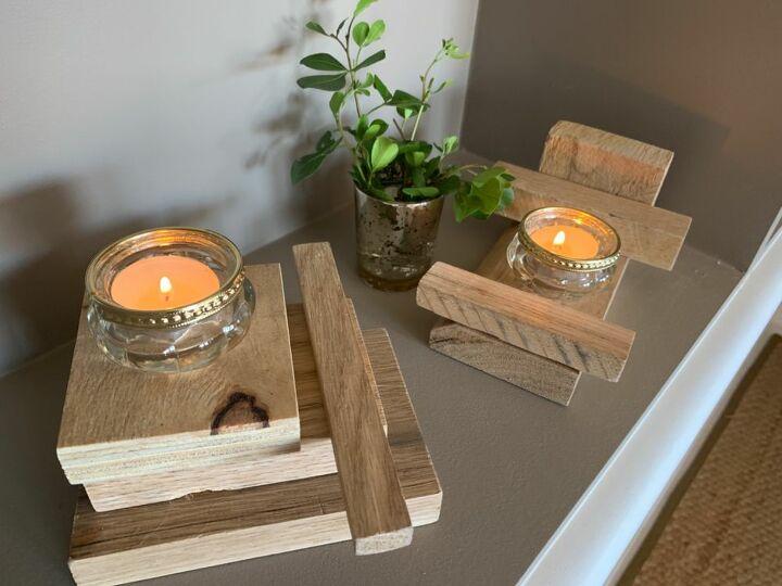 modern rustic tea light plinths from scrap wood