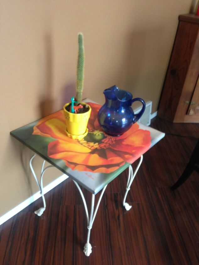 upcycled table from repurposed art