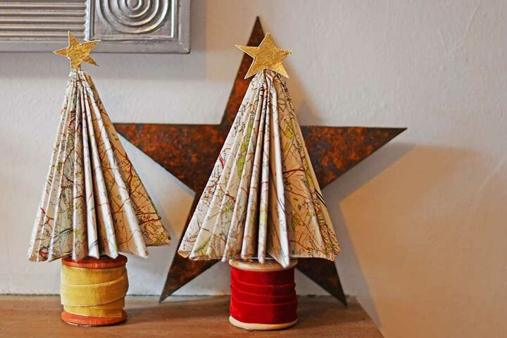 repurposed road map christmas trees
