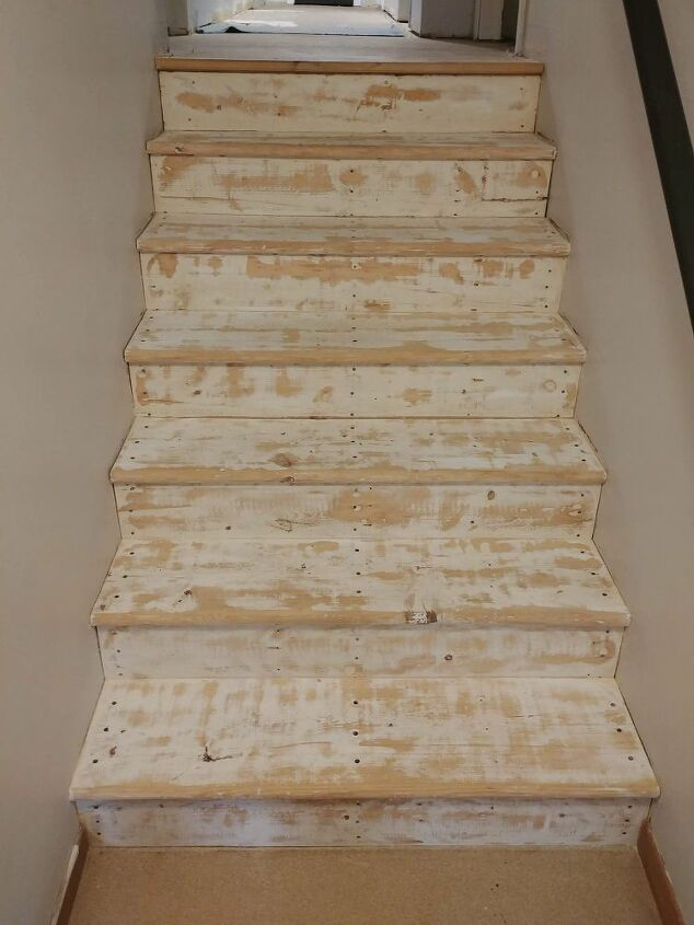 The stairs after being sanded.