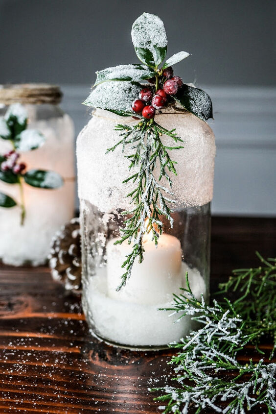 5 minute diy snow covered candle jars