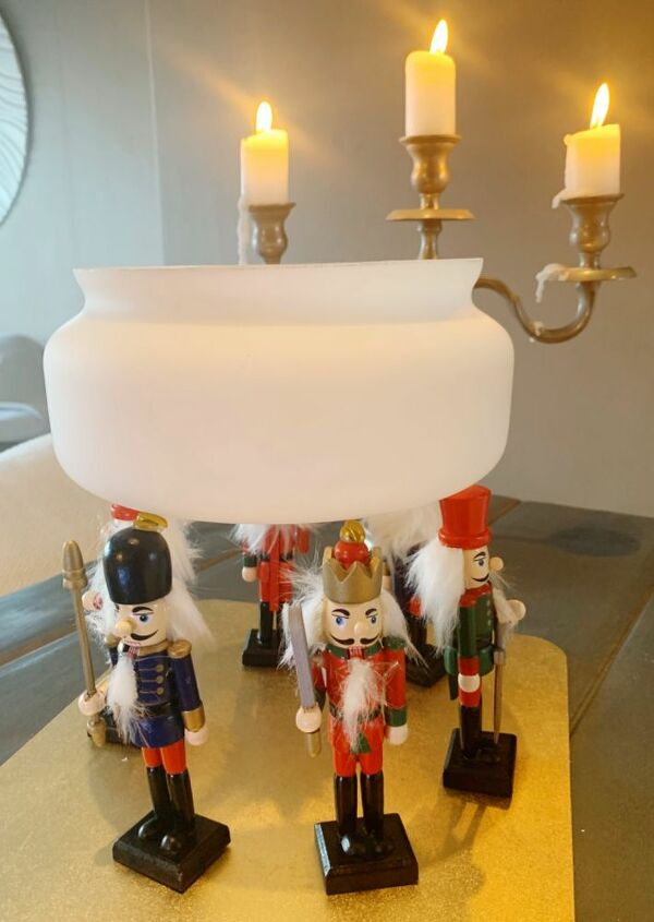 seasonal bowl from nutcrackers and a lamp shade