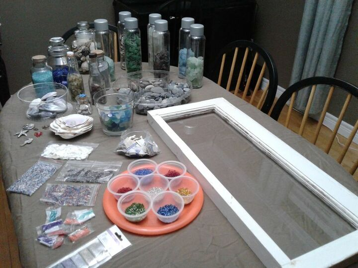 vintage window with epoxy resin seascape, Gathering Supplies