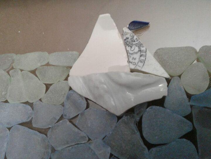 White Sea Glass Sailboat