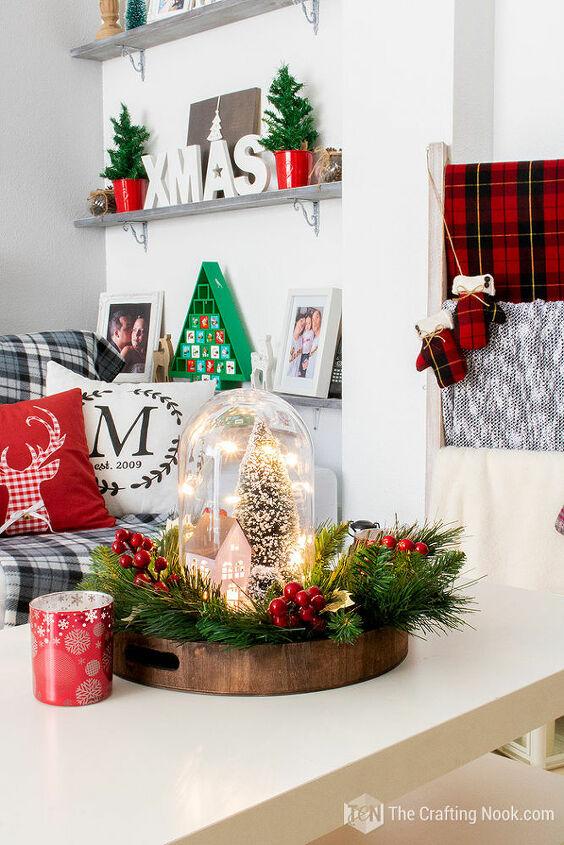 diy winter scene christmas cloche centerpiece