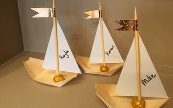 Sailboat Place Cards From Disposable Bamboo Bowls