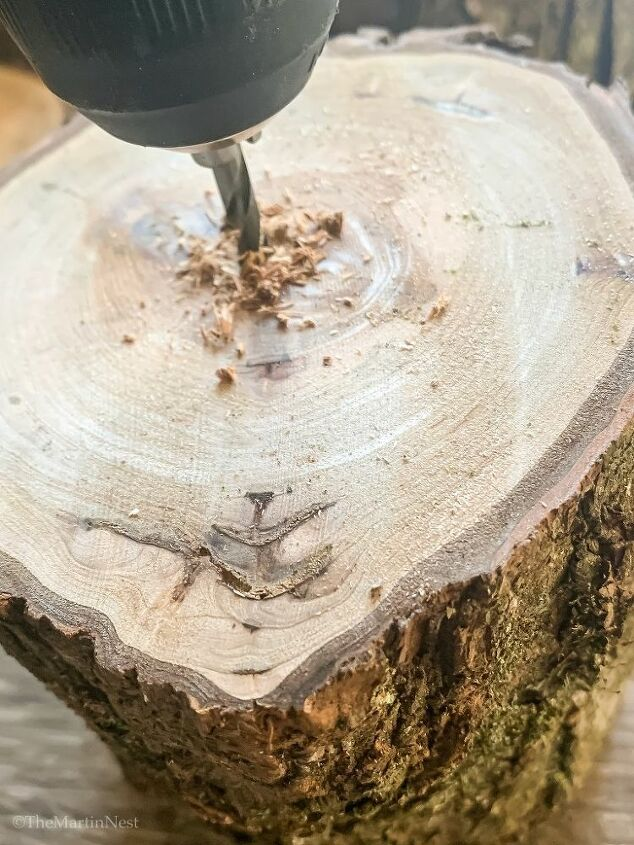 diy mini log slice trees