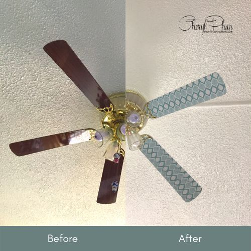 update your ceiling fan with contact paper from the dollar tree for 1