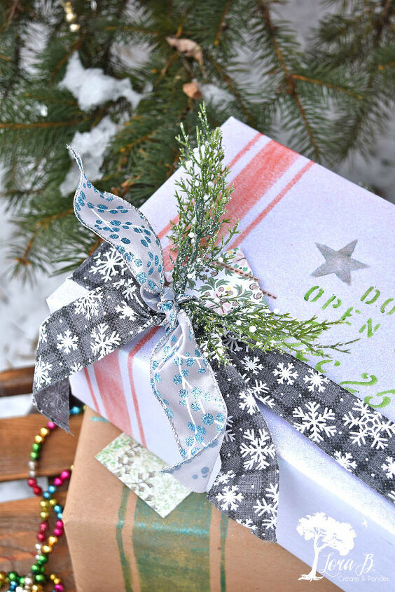 stenciled gift wrapping
