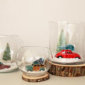 Make snow globes from glass jars!
