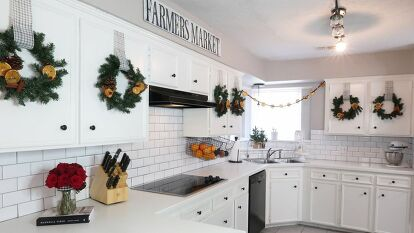 Decorate your kitchen cabinets with holiday cheer