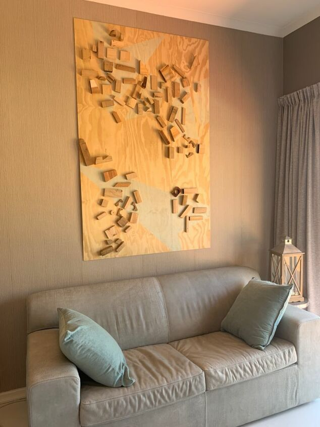 abstract art from shutterboard and wood cut offs
