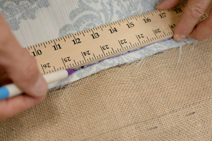 Marking the channels on burlap