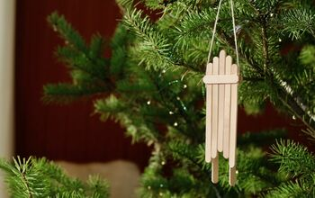 Popsicle Stick Sled Christmas Tree Ornaments