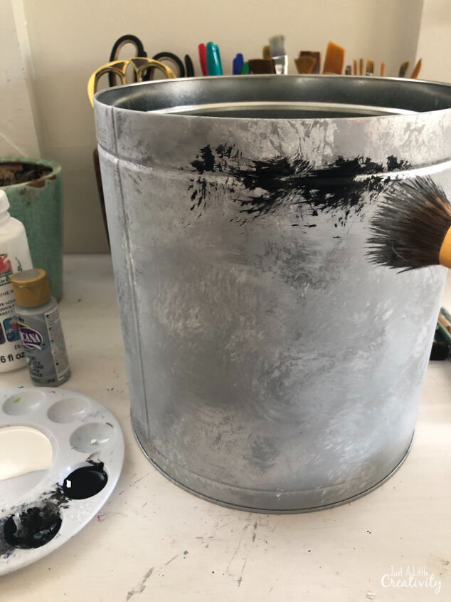 how to upcycle your christmas popcorns tins into metal planters