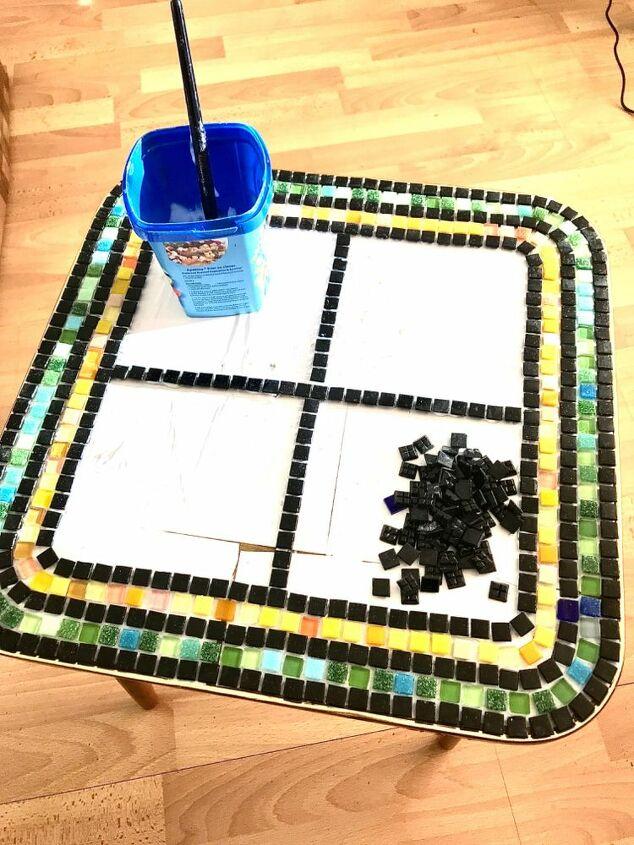 Vitreous glass tiles create the borders