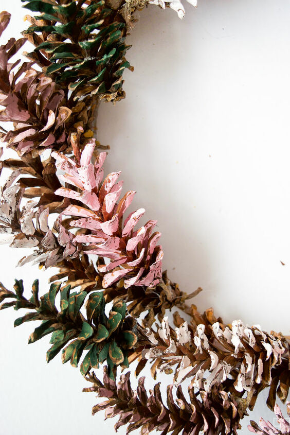 painted pinecone wreath
