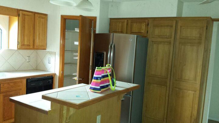 Builder grade, unfinished cabinetry