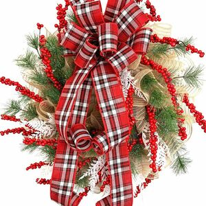 Make a burlap and plaid after-Christmas wreath