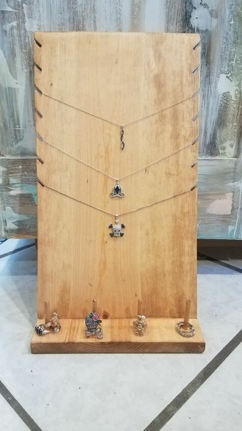 wooden jewelry display