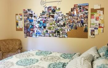 Decorating a Wall With Pictures, Tickets, and Memorizes.